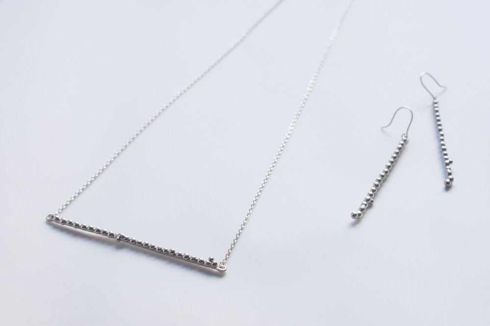 necklace  /  long  - silver 925 -  -