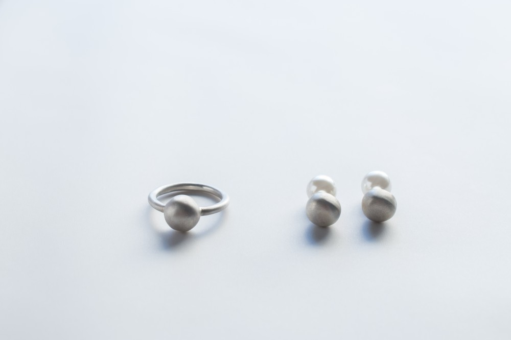 ring  / pierce   - silver 925silver 925 . plastic pearl -  -