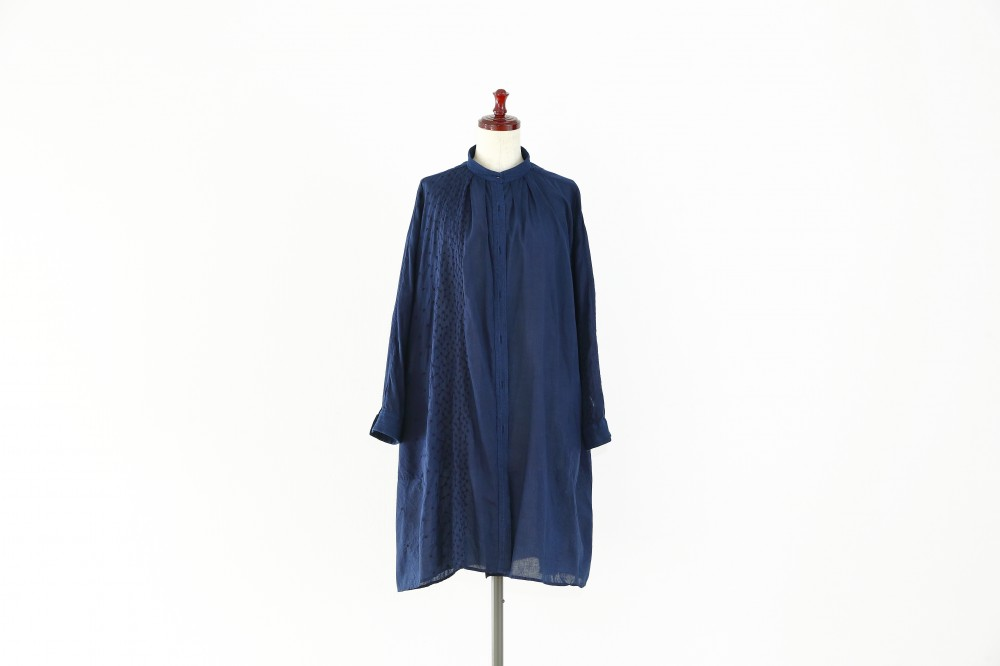INDIGO COTTON SHIRT ONE PIECE -