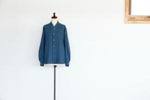 INDIGO SILK SHIRT - 本場結城紬「小倉商店」 x 藍染坐忘 x RIPOSO.
