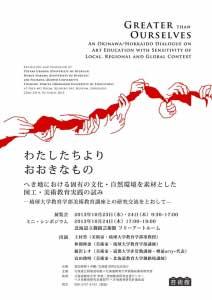 「わたしたちよりおおきなもの」 への参加 - 樽前arty+を代表して藤沢レオが参加してきました。「わたしたちよりおおきなもの」へき地における固有の文化・自然環境を素材とした図工・美術教育実践の試み―琉球大学教育学部美術教育講座との研究交流をとおして—展示:2013年10月23日(水)・24日(木)9:30~17:00ミニ・シンポジウム:2013年10月24日(木)17:00~19:00会場:北海道立釧路芸術館 フリーアートルーム上村豊(美術家・琉球大学教育学部准教授)仲間伸恵(美術家・琉球大学教育学部講師)藤沢レオ(美術家・道都大学非常勤講師・樽前arty+代表)富田俊明(美術家・北海道教育大学釧路校講師)