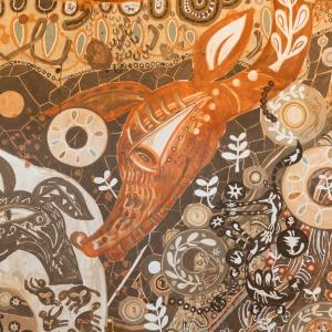 淺井裕介 - 絵描きテープ、ペン、土、埃、葉っぱ、道路用白線素材など身の回りの素材を用いて、キャンバスに限らず角砂糖の包み紙や紙ナプキンへのドローイング、泥や白線を使った巨大な壁画や地上絵のシリーズまで、あらゆる場所と共に奔放に絵画を制作する作家。http://arataniurano.com/artists/asai_yusuke/